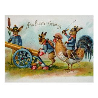 Postal Huevos militares de los conejitos de pascua en