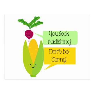 Postal Humor divertido de la verdura del rábano y del