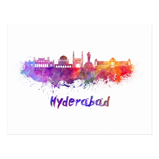 Postal Hyderabad skyline in watercolor