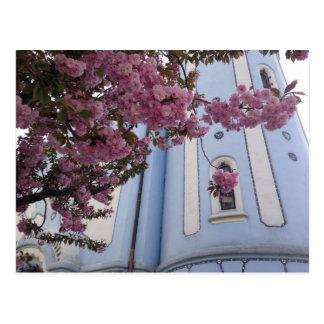 Postal Iglesia azul + Flor