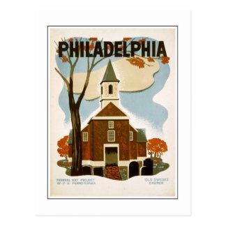 Postal Iglesia vieja de Philadelphia sueco