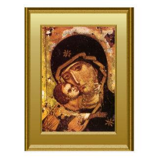 Postal Ikon del Virgen María y del niño Jesús