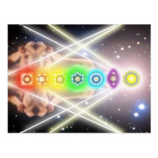 Postal Iluminación ligera del chakra de la meditación