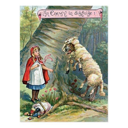 Postal Ilustracion del Caperucita Rojo del vintage