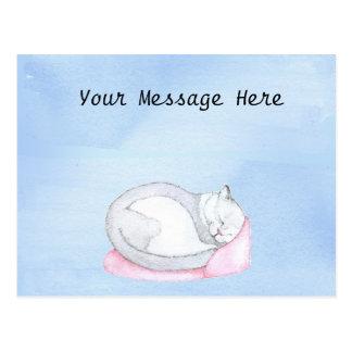 Postal Ilustracion del gatito el dormir