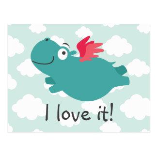 Postal Ilustracion del hipopótamo del vuelo