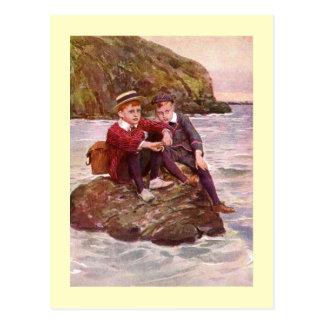 Postal Ilustraciones del vintage que ofrecen a los