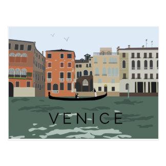 Postal ilustrada de la góndola de Venecia