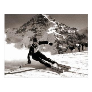 Postal Imagen del esquí del vintage, raza de Lauberhorn