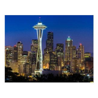 Postal Imagen del horizonte de Seattle en horas de mañana