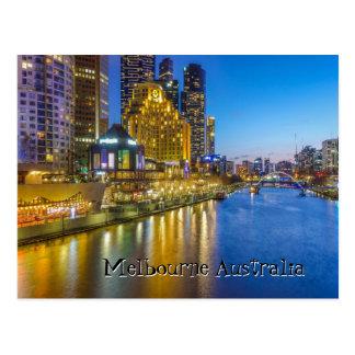Postal Imagen del río de la noche de Australia Melbourne