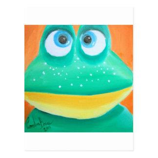 Postal Imagen linda del ejemplo de la cara de la rana