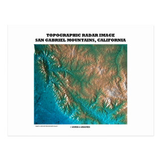 Postal Imagen topográfica San Gabriel Mtns, CA del radar