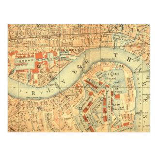 Postal Impermeables de ciudad - mapa Londres el río