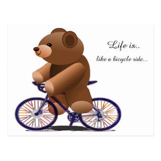 Postal Impresión de ciclo del oso de peluche