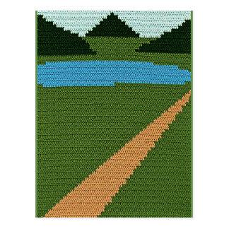 Postal Impresión del ganchillo del verde de las colinas