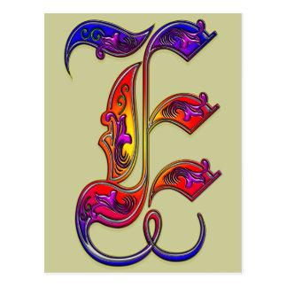 Postal Impresión del monograma del alfabeto de la letra E