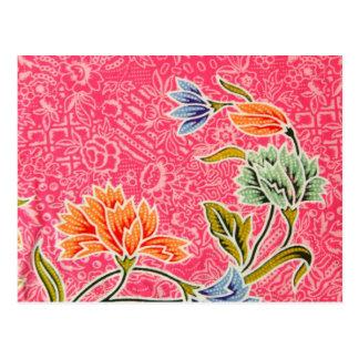 Postal Impresión floral del rosa, del naranja y del azul