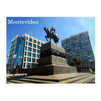 Postal independencia Montevideo de la plaza