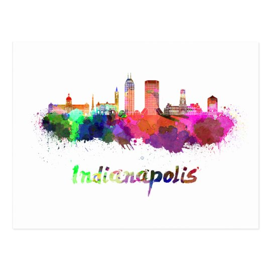 Postal Indianapolis skyline in watercolor