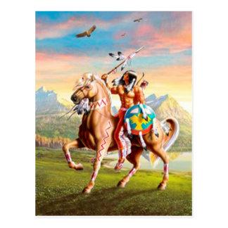 Postal Indios americanos Brave en caballo
