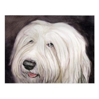 Postal inglesa vieja del arte del perro pastor