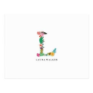 Postal Inicial floral del monograma de la letra - L -