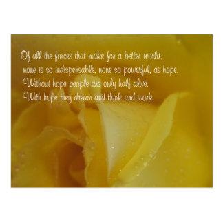 Postal inspirada color de rosa de oro de la cita