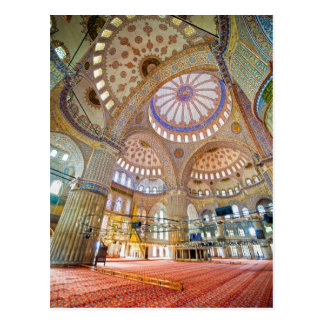 Postal Interior azul de la mezquita en Estambul