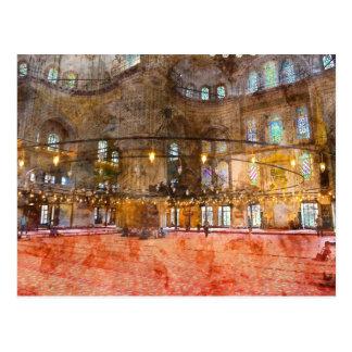Postal Interior de la mezquita azul en Estambul Turquía