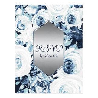 Postal Invierno de plata blanco azul que casa RSVP