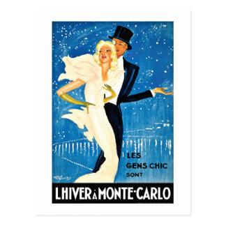 Postal Invierno europeo del vintage en el viaje de Monte