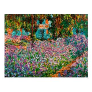 Postal Iris en el jardín de Monets en Giverny de Claude