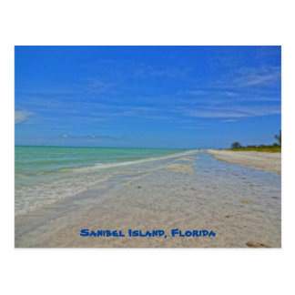 Postal Isla la Florida de Sanibel - línea de la playa del