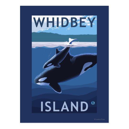 Postal Isla, WashingtonOrca y becerro de Whidbey