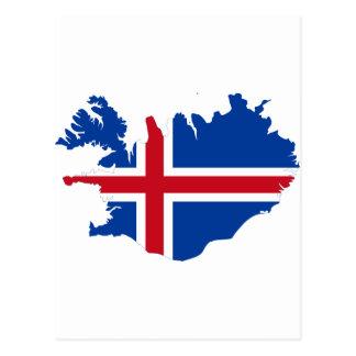 Postal Islandia ES mapa de la bandera de Ísland