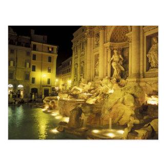 Postal Italia, Roma. Fuente del Trevi en la noche