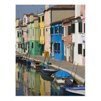 Postal Italia, Venecia, Burano. Casas multicoloras a lo