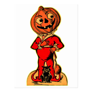 Postal Jack-o-linterna retra de Halloween del kitsch del
