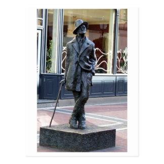 Postal James Joyce, escultura irlandesa del autor, ciudad