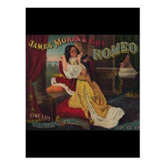 Postal James Moran y tabaco de mascar de Romeo del Co