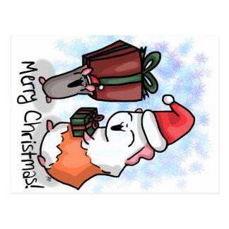 Postal Jamón y navidad guarro