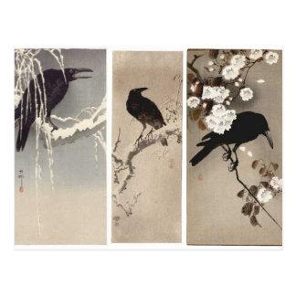 Postal japonesa del arte del cuervo