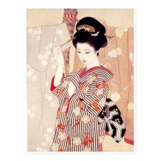 Postal japonesa del arte del vintage