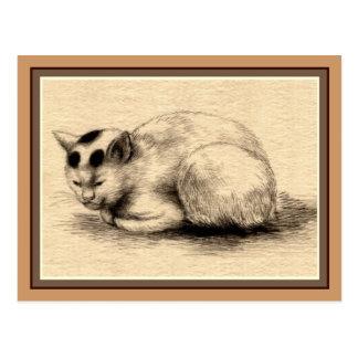 Postal japonesa del dibujo de la tinta del gato