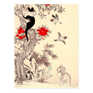 Postal japonesa del gatito y del perrito