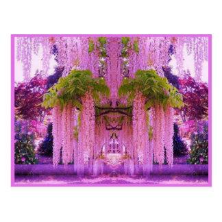 Postal japonesa púrpura del jardín
