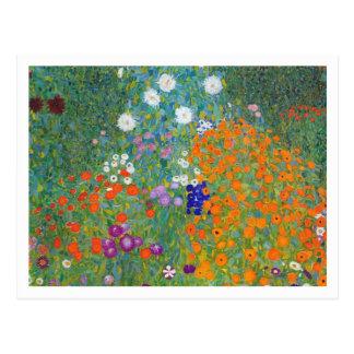 Postal Jardín de flores de Gustavo Klimt