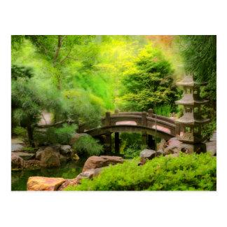 Postal Jardín japonés - agua debajo del puente