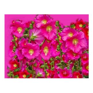 Postal Jardín rosado de los Hollyhocks por SHARLES